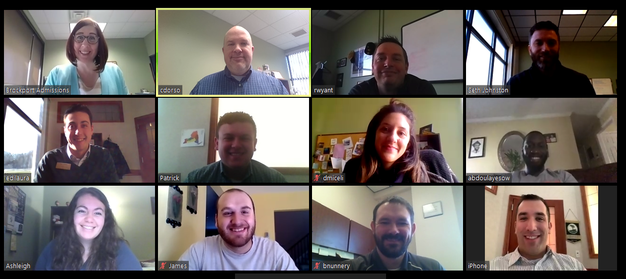a screenshot of a 13-person zoom meeting, with people sitting in their offices